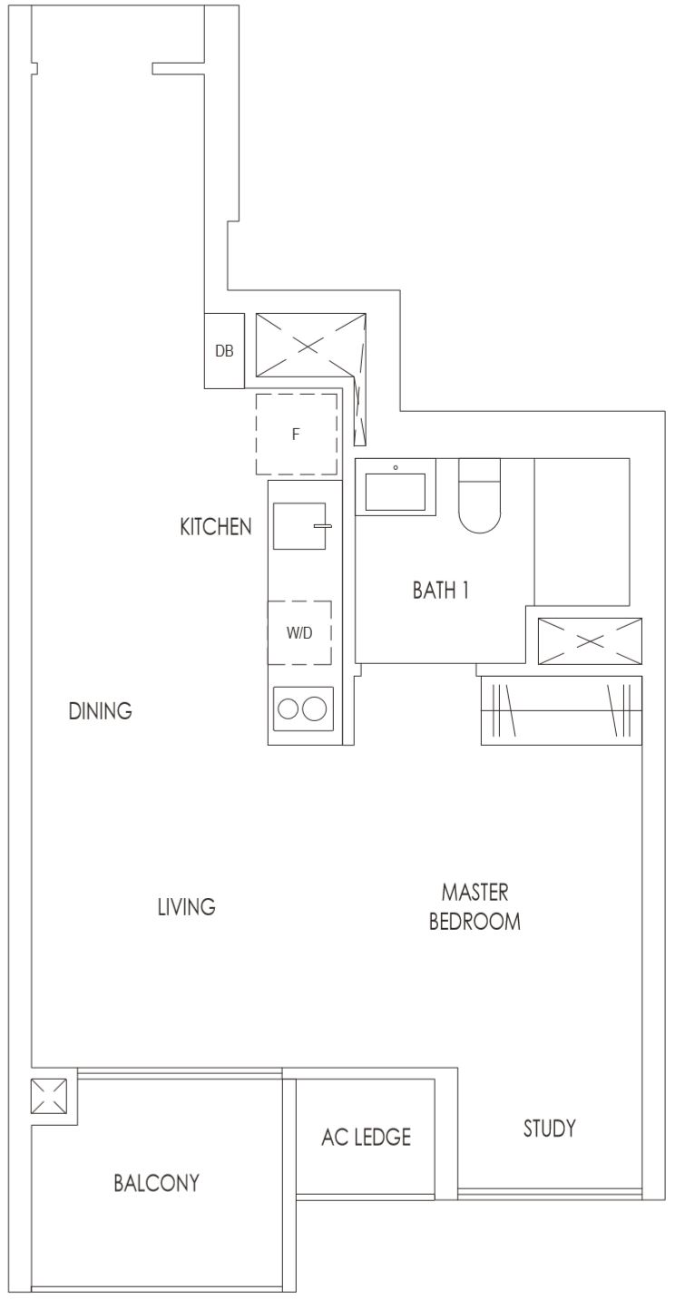 Treasure at Tampines Floor Plan 1 Bedroom with Study