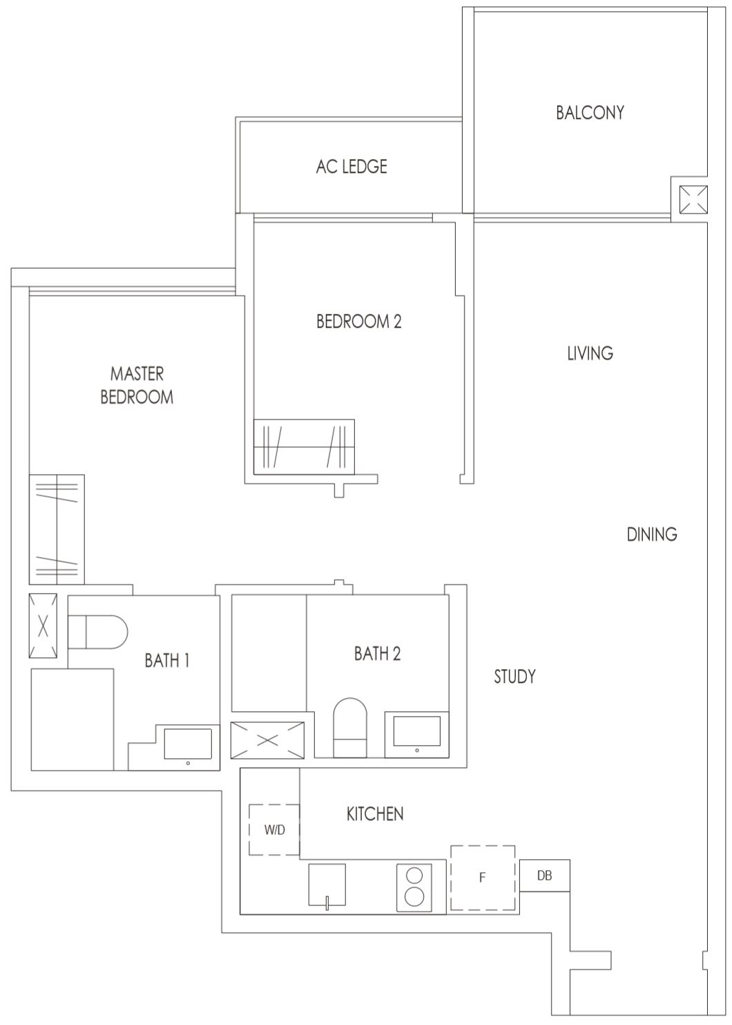 Treasure at Tampines Floor Plan 2 Bedroom Premium with Study