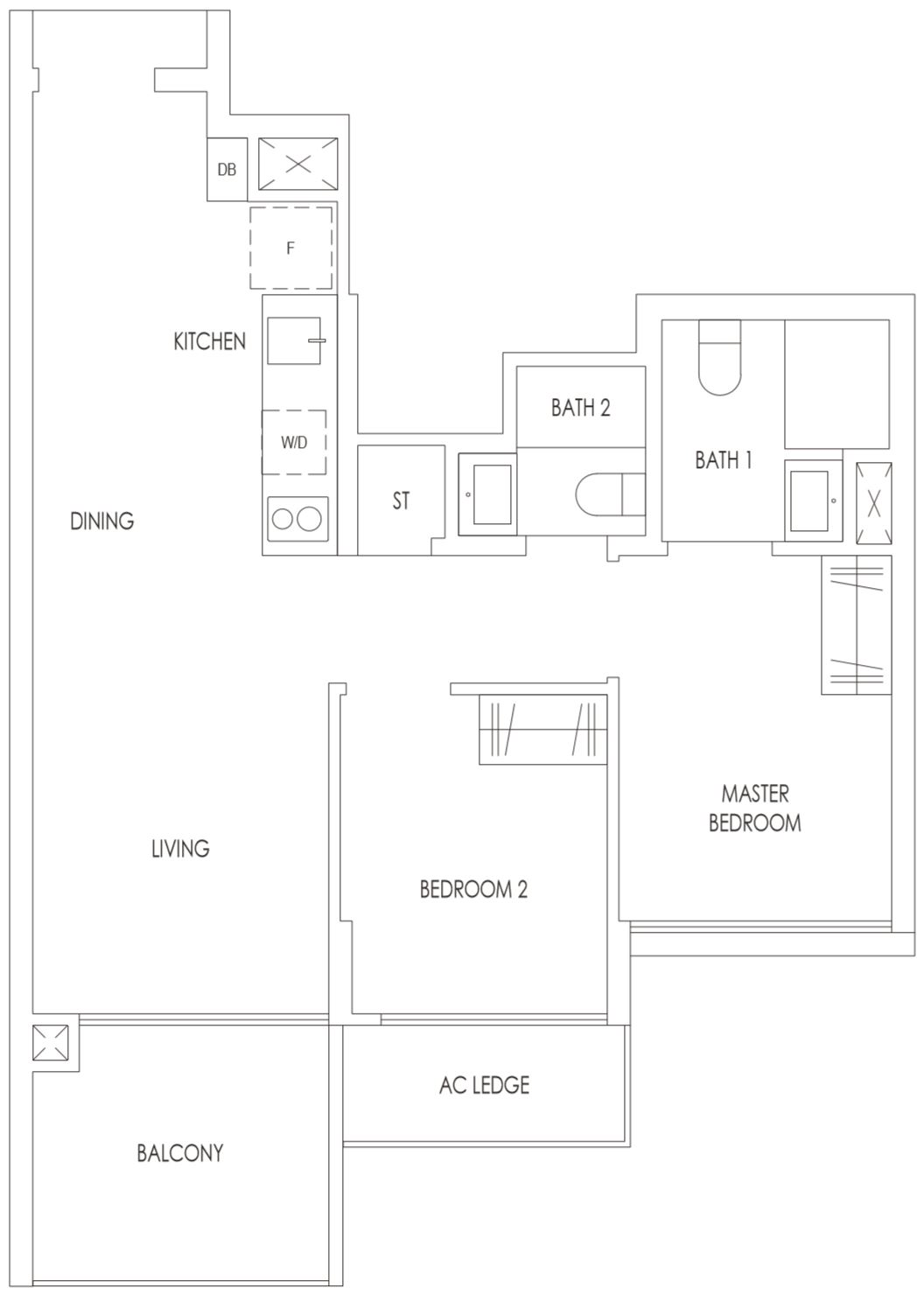 Treasure at Tampines Floor Plan 2 Bedroom