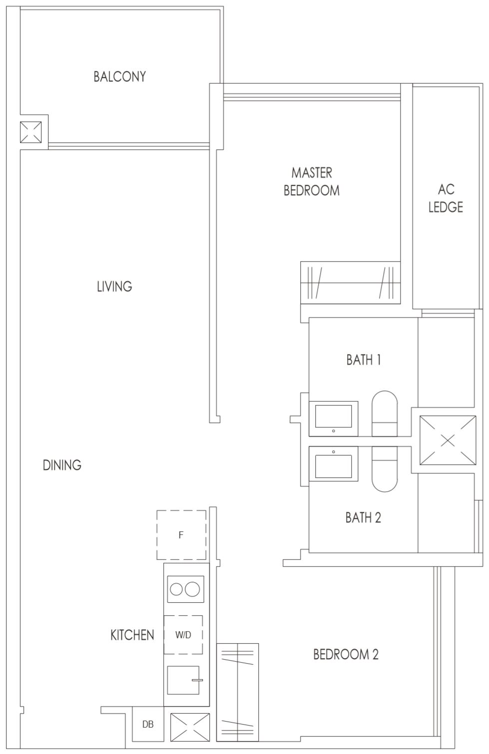 Treasure at Tampines Floor Plan 2 Bedroom Premium