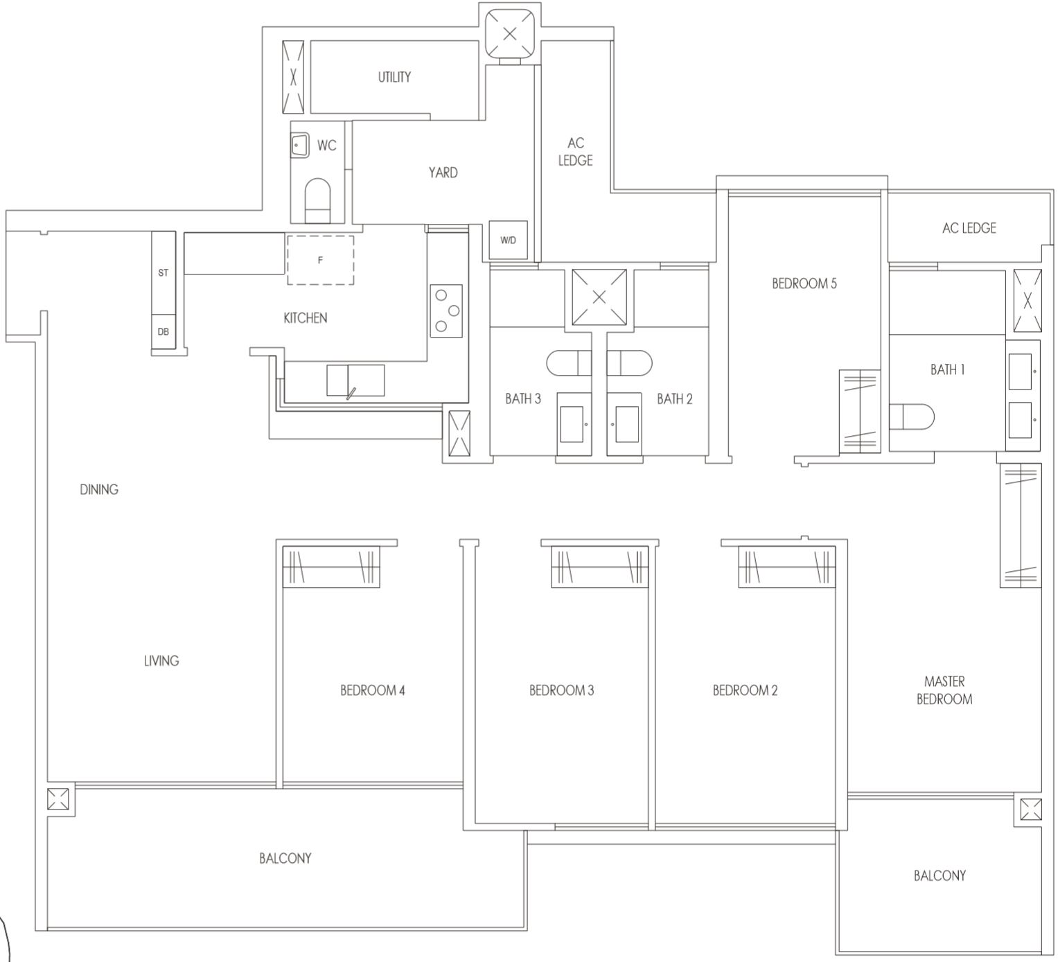 Treasure At Tampines Condo Bedroom Floor Plan